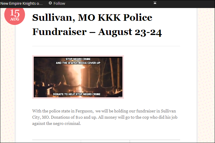 The KKK claim to have gathered in Sullivan County, Missouri, near Ferguson