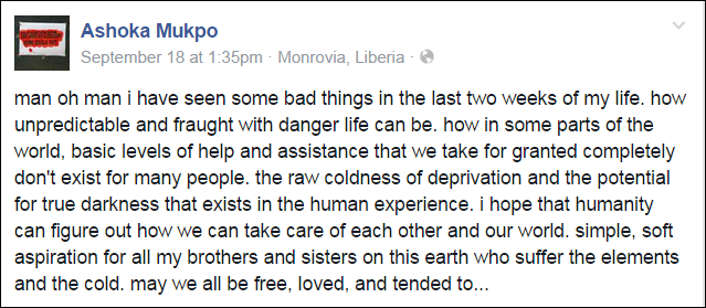 "Ashuka posting for his wish that all be ""free, loved and tended to"" about the time he contracted Ebola"
