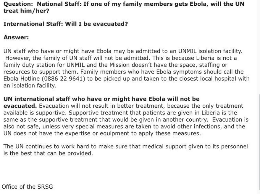 Confidential UN document advising UN staff they will not be evacuated if they contract Ebola October 3, 2014