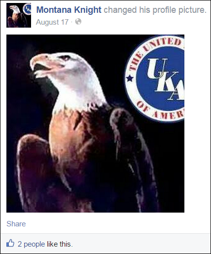 John Abarr's FB profile picturing his allegiance to the internet KKK group the United Klan's of America