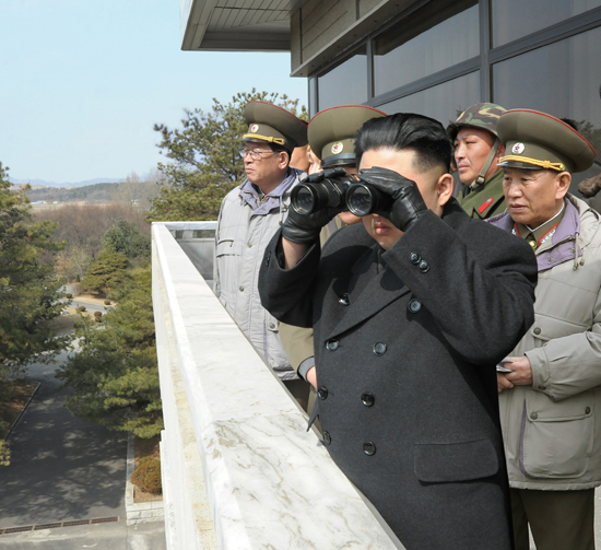 RGB head General Kim Yong Chol with Kim Jong Un overlooking the area where General Chol is accused of attacking South Korean territory