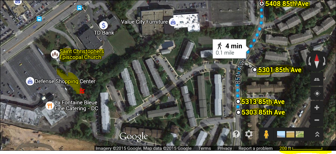 Map shows the four addresses (R) that both Jordan Wallace and murder suspect Daron Wint have lived in recent years--all within one tenth of a mile. On left is the church parking lot where the Savopulos Porsch, which was stolen at the time of the murders, was abandoned and torched (see yellow and red highlight). The berm of weeds separates the church parking lot from the parking lot of the single apartment complex where all the above addresses are located. This is the foirst evidence that links the chief witness and employee of Savopoulos and the man charged in the murders