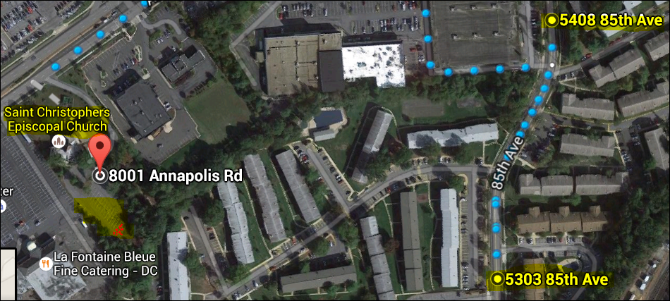 Location of torched Porsche in church parking lot (left center) and residence of murder suspect Daron Wink (upper right) and home of Jordan Wallace, Savopoulos's personal assistant (lower left)
