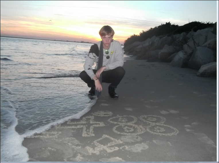 """Photo posted by Roof taken on a South Carolina beach in March 2015. Note the Nazi symbols both above the """"14 88"""" and below"""