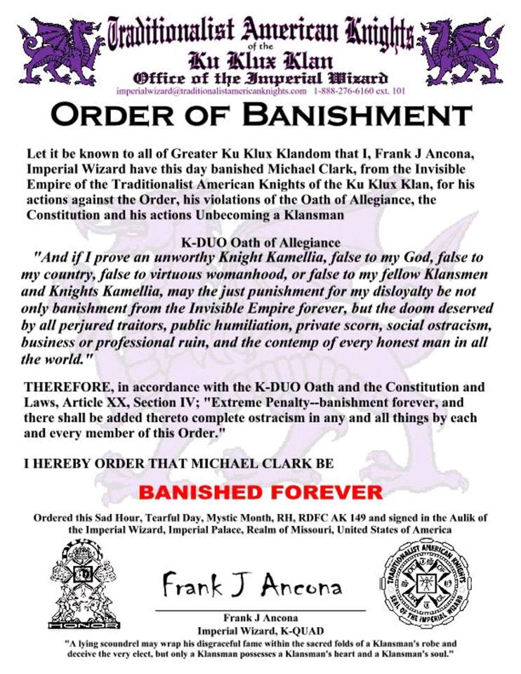 The official banishment document from the Ku Klux Klan for Michael Clark, the former state leader--or Grand Dragon--of the South Carolina chapter of the KKK