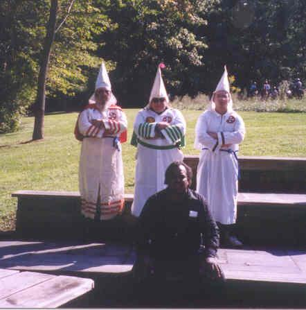 Davis with one of the many Klan groups he has approached and met with