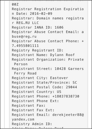 Dylann Roof's name, address, and phone number used to create his website on February 9, 2015