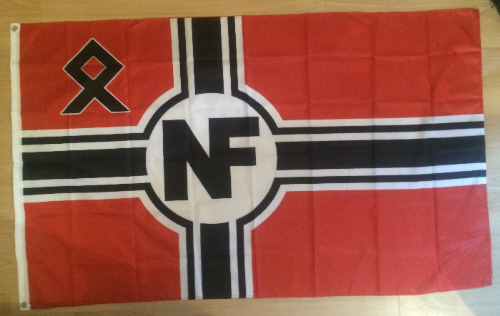 Note symbol on upper left of British far right National Front skinhead political party
