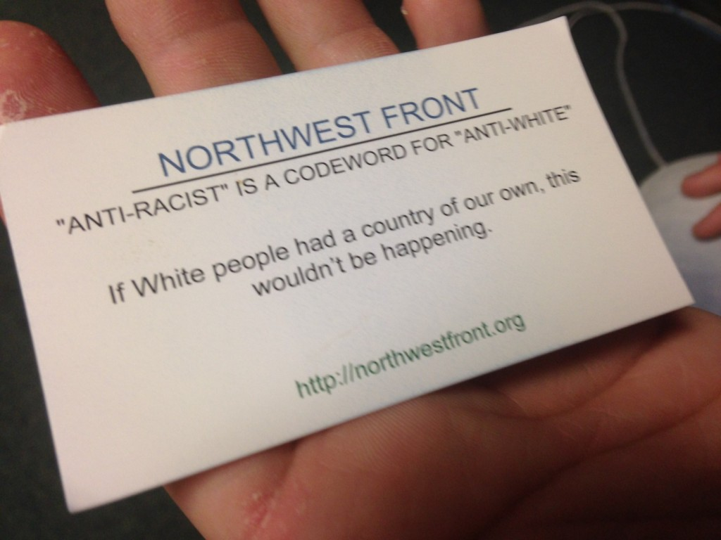A Northwest Front business card delivered to a South Carolina man in October 2014