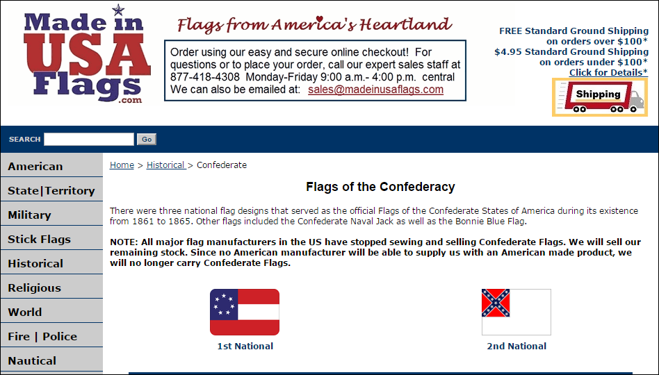 Announcement by U.S. flag company they will cease selling confederate flags because no American company will manufacture them, despite surge in sales orders in recent days.