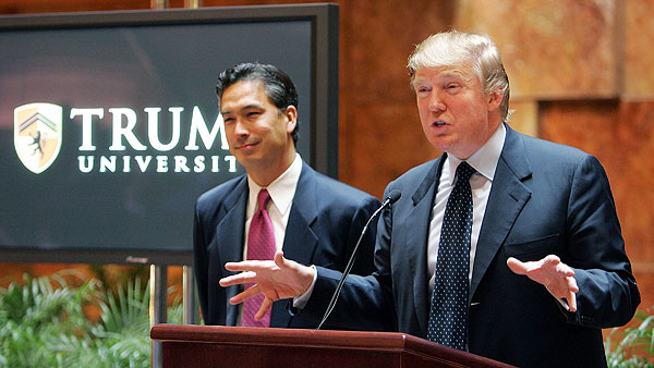 Trump and his failed Trump University which was sued for defrauding students
