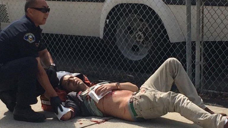 The Anaheim California counter KKK protestor after being stabbed by American Flag