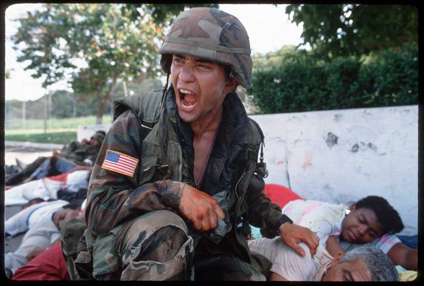 Photo by Christopher Morris in Panama during the 1989 U.S. invasion in 1989. The three other photographers with him were all shot