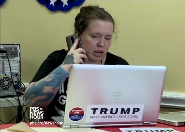 """Trump election worker Grace Tilly with """"Celtic Cross"""" tattooed on her right hand"""