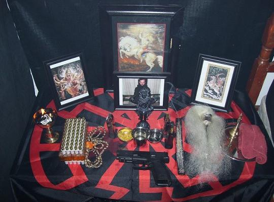 An alter in Sutter's South Carolina home devoted to the Hindu temple New Bahir Mindar which worships an apocalyptic Hindu Deity, Kali, the Goddess of Death