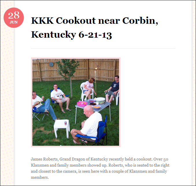 """Photo the New Empire Knights claimed to be of their """"Kentucky Grand Dragon"""". When contacted, the real person depicted was outraged at being misrepresented"""