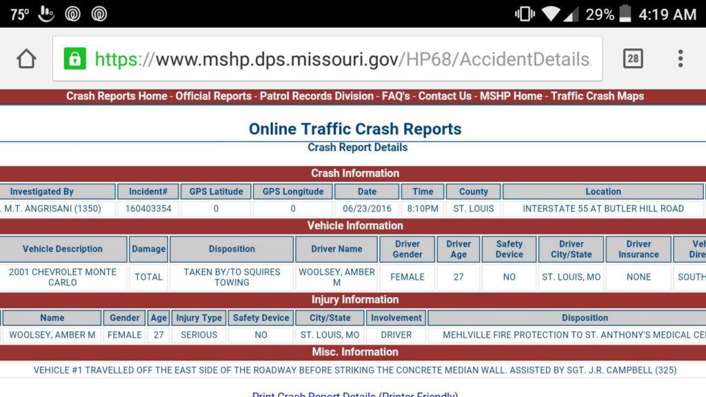 The Missouri accident report which Ancona's wife found over the internet allowing them to contact her