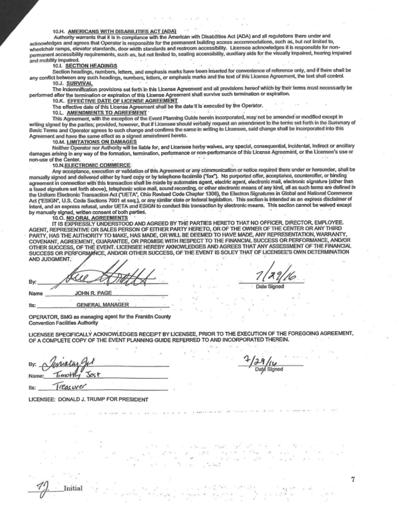 Document signed between Trump for President National campaign treasurer and head of the Columbus Ohio Greater Columbus Convention Center four days before the Monday Trump rally