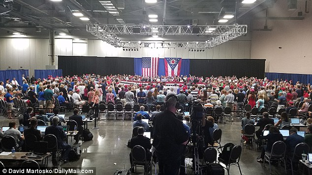 Photograph from inside the Columbus Ohio Convention Center Monday at Trump Rally