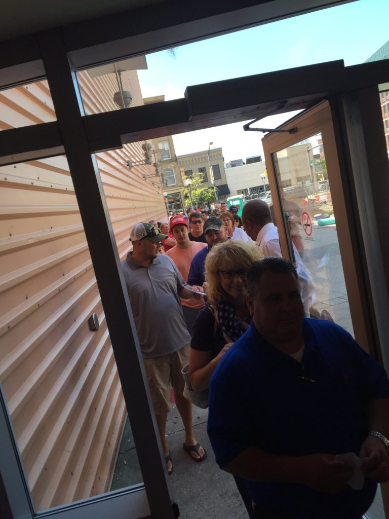 Columbus Ohio officials estimated the crowds outside the venue hall at about 300