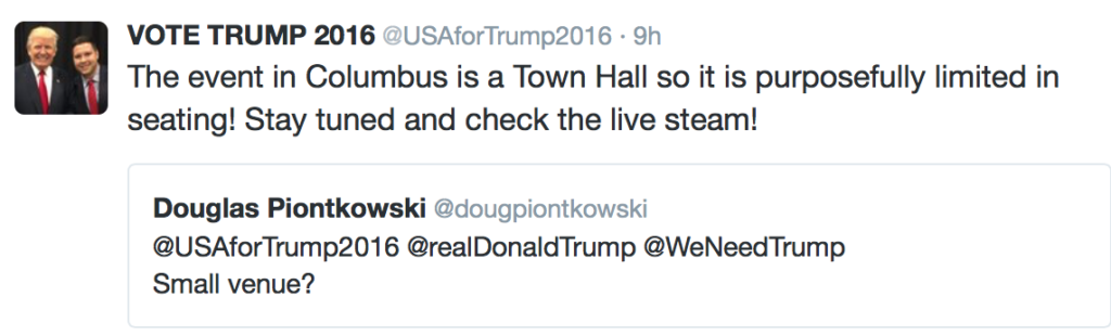 "Tweet from Trump campaign calling the event a ""Town Hall Meeting"" after they penned an agreement last Friday that allowed for a maximum capacity crowd of 1000"