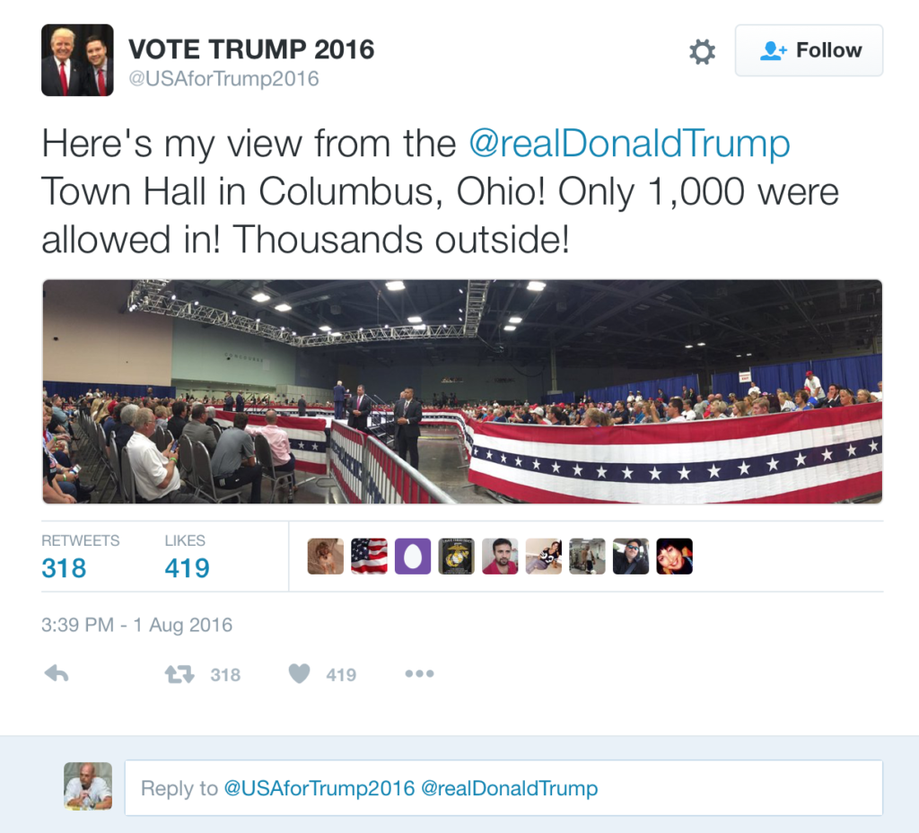 Trump Tweet claiming people were prevented from attending his Ohio rally because the city fire officials were politically manipulated