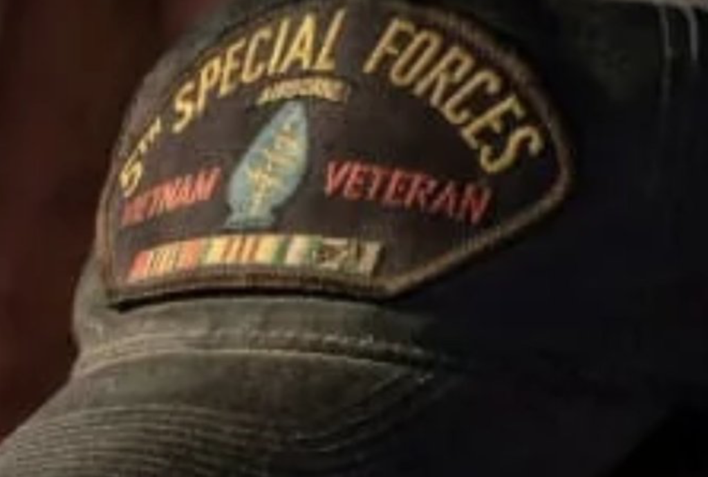 b783e852658665 ... U.S. Army 5th Special Forces Vietnam Veteran hat, one of the military  regalia he wears falsely claiming fake medals, ranks, and military  affiliations